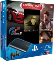 Приставка Sony PlayStation 3 Super Slim 500Gb + игра Gran Turismo 5. Academy Edition + игра Uncharted 3 + игра Heav