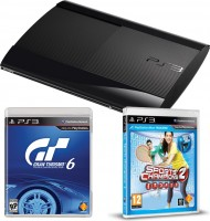 "Приставка Sony Playstation 3 Super Slim 500Gb + PS Camera/PS Move + ""Праздник Спорта 2"" +""Gran Turismo 6"" после сер"